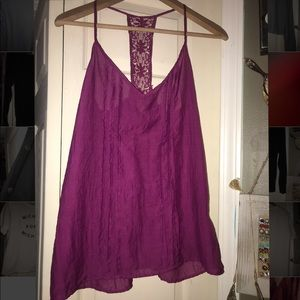 Maroon tank top with lace racer back size Sm